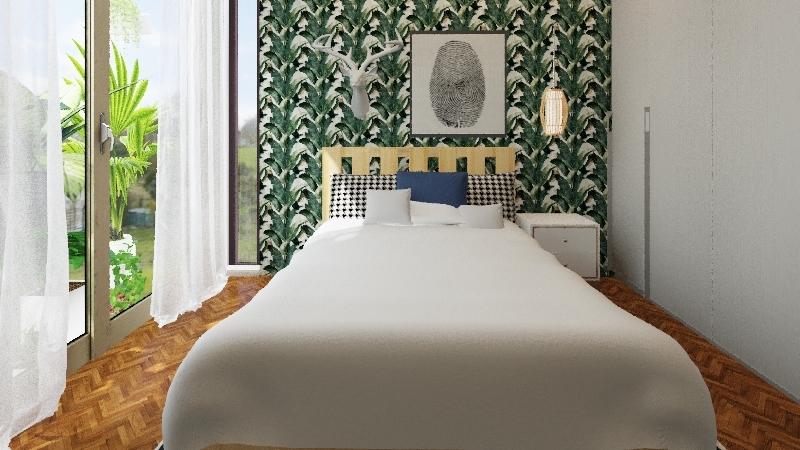 small africa bedroom Interior Design Render