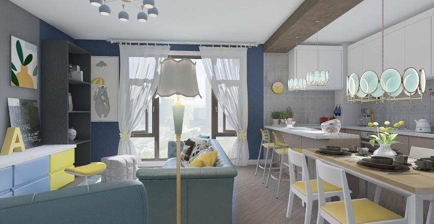 MINI APPARTAMENTO IN GIALLO E BLU Interior Design Render