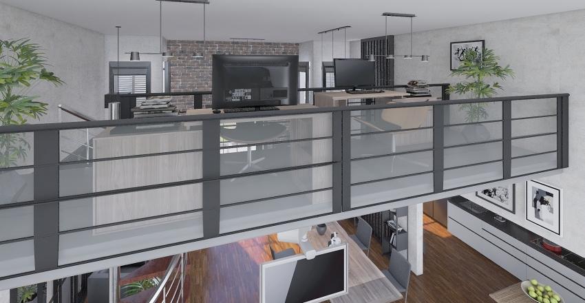 Atico  con toque industrial Interior Design Render