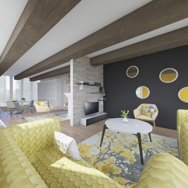 yellow home Interior Design Render
