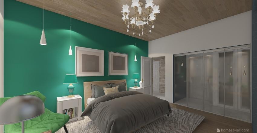 black or withe Interior Design Render