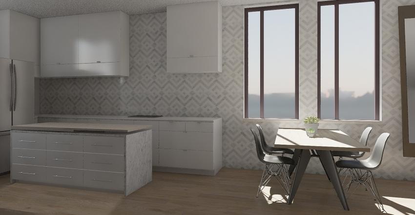 Modern Kitchen & Living Interior Design Render