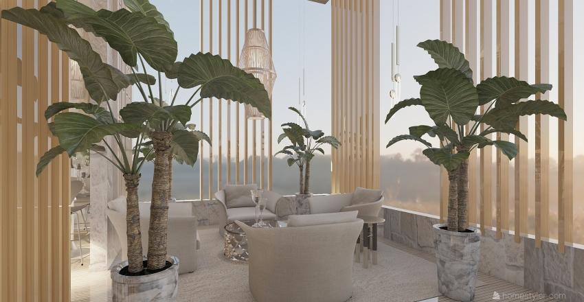 Rooftop Cocktail Bar Interior Design Render