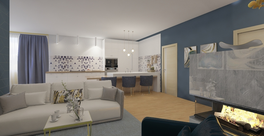 Blue & Gold City Appartment Interior Design Render
