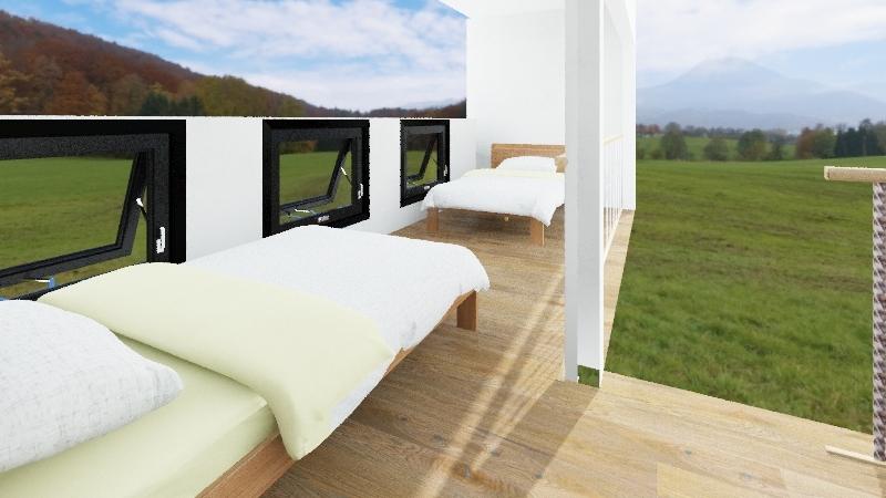 Vermont 16x24 Timber Frame Cabin Interior Design Render