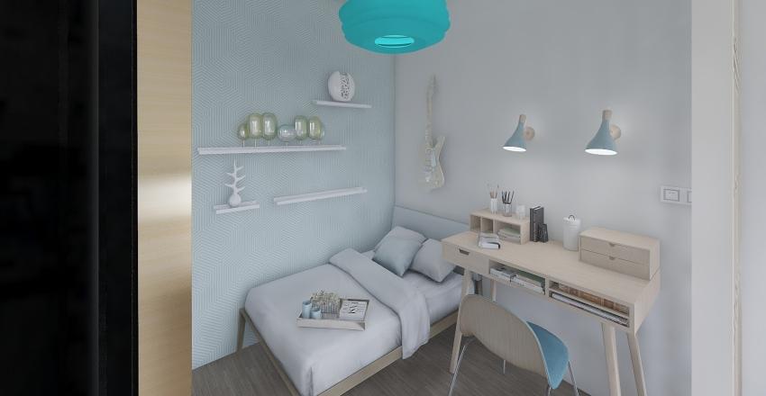 Vintage Blue Interior Design Render