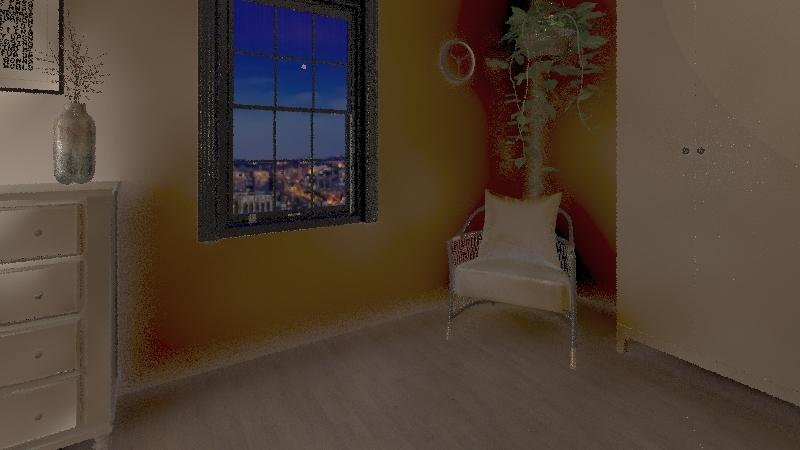 Scandinavian master bed Interior Design Render
