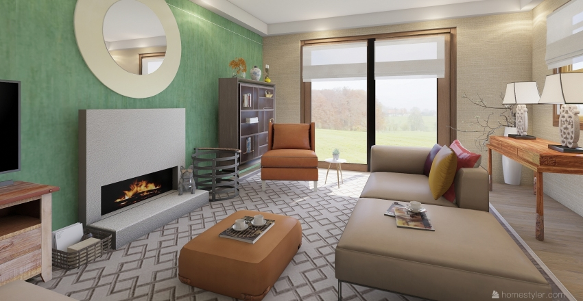 Modern asian living room Interior Design Render