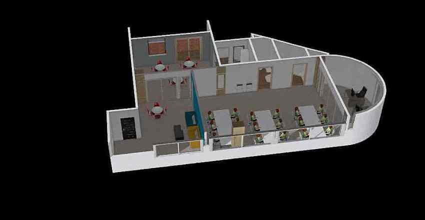 辦公室 10 ~ 16 人 前廳(中窄) 原電線孔 Interior Design Render