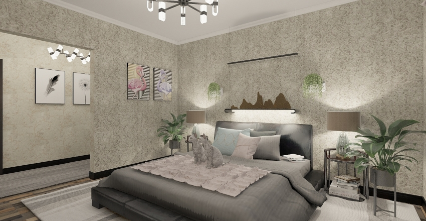 Young womans home Interior Design Render