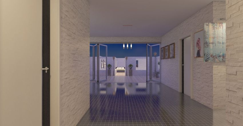 house with patio and swimming pool Interior Design Render
