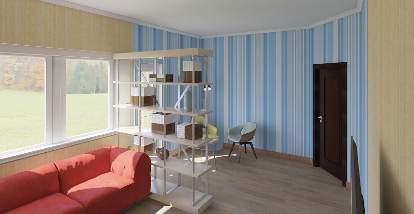 living room and reading area Interior Design Render