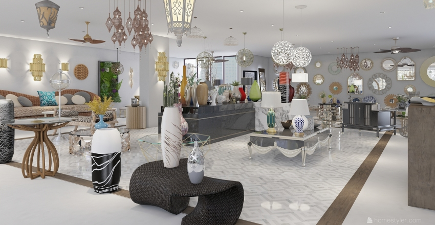 Local de Muebles Arabe Interior Design Render