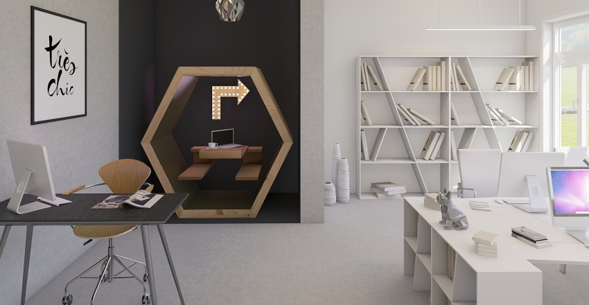 The OFFICE Project – Bourgeois Apartment to Trendy Office  Interior Design Render