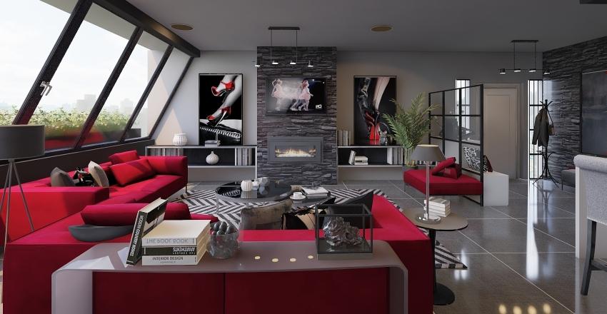 Apartamento moderno para fans del rojo. Interior Design Render