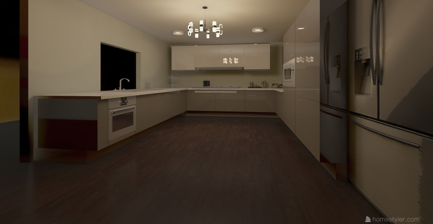 U-Shaped Kitchen  Interior Design Render