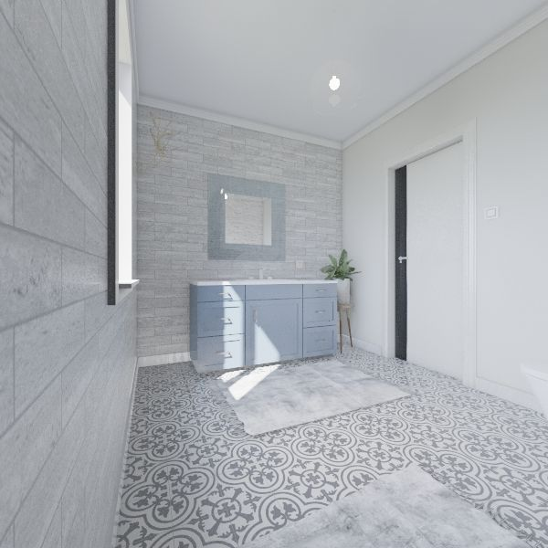 Łazienka w bieli z turkusem Interior Design Render