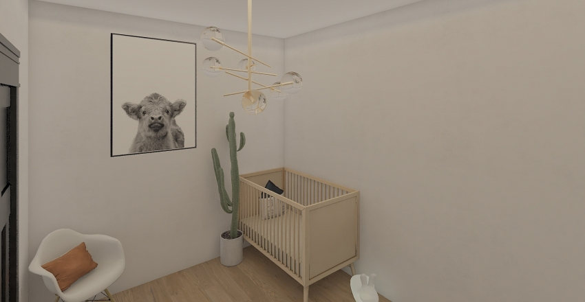 Boho Style Nursery Interior Design Render