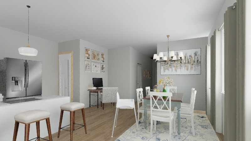 simple family home Interior Design Render