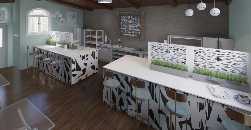 Coffee Shop Interior Design Render