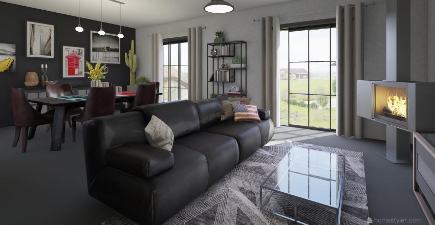 Industrial chic house Interior Design Render