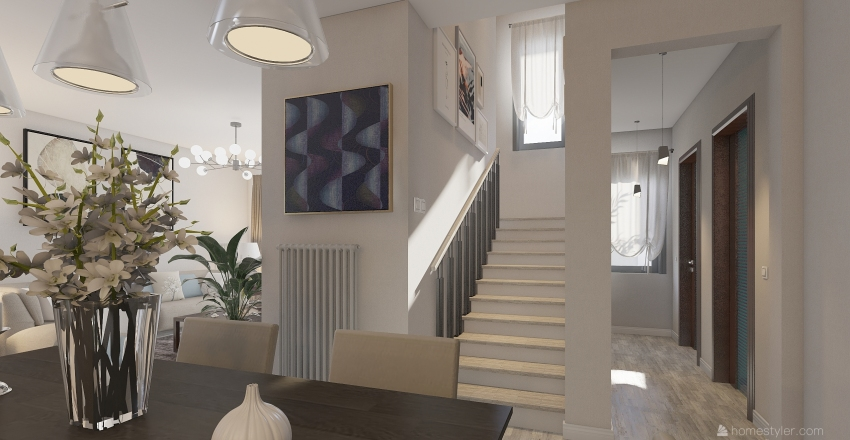 μικρη διωροφη κατοικια Interior Design Render
