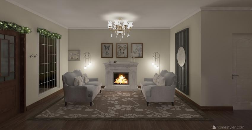 Christmas Cottage Interior Design Render