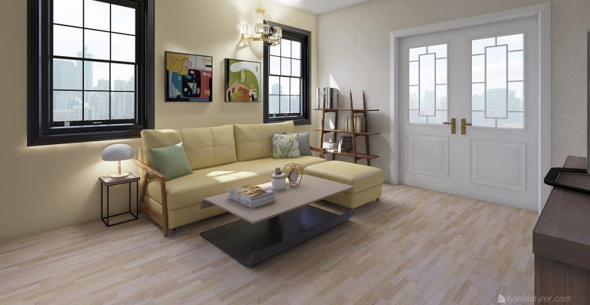 yellow Interior Design Render