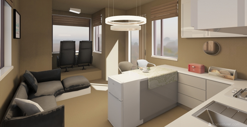 Camping Van Interior Design Render