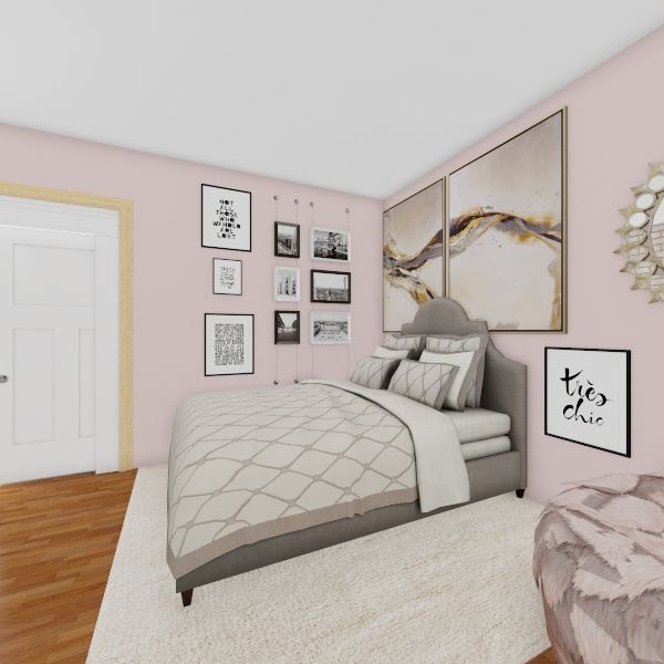 Girly, Modern, Artsy Bedroom Interior Design Render