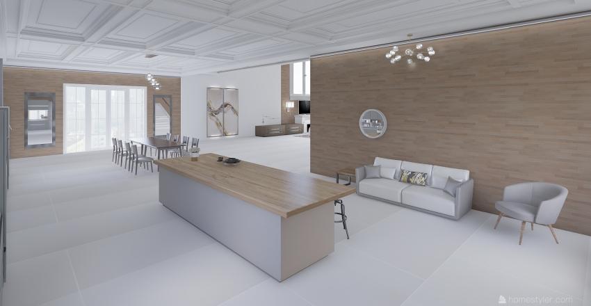 Luxurious Living Room and Kitchen Interior Design Render