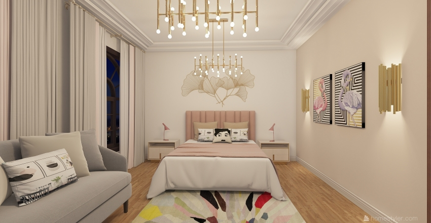 pink room Interior Design Render