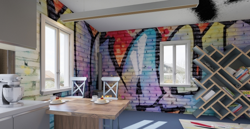 Graffiti  Interior Design Render