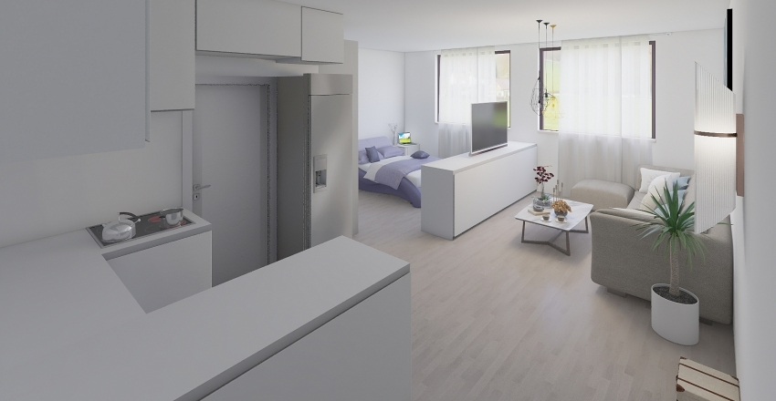 Popradska 68 - 41 m2 3 Interior Design Render