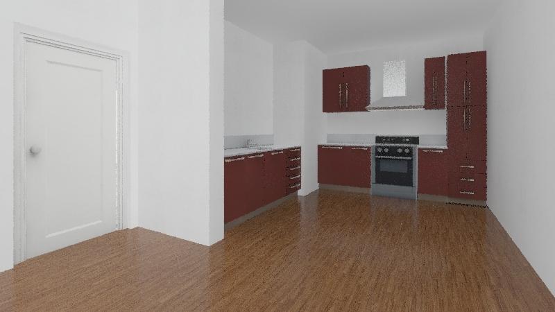 Kitchen Living Room Interior Design Render