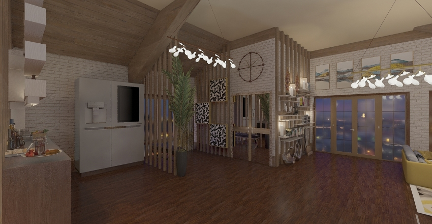 mansarda open space Interior Design Render