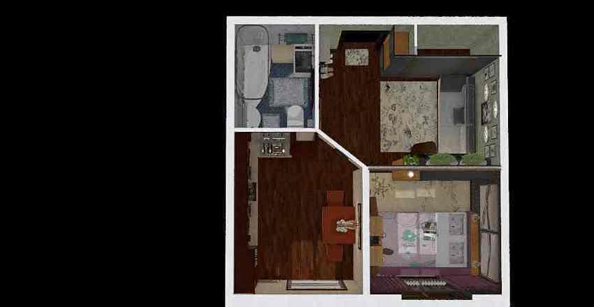 Однокомнатная маленькая квартира Interior Design Render