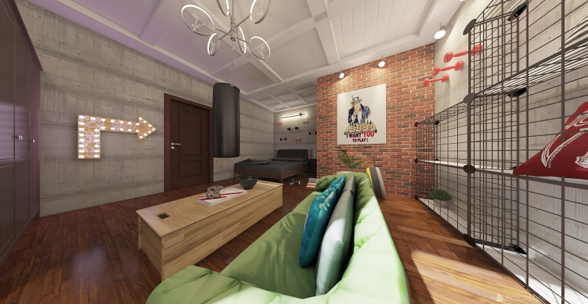 SALLE DE SPORT Interior Design Render