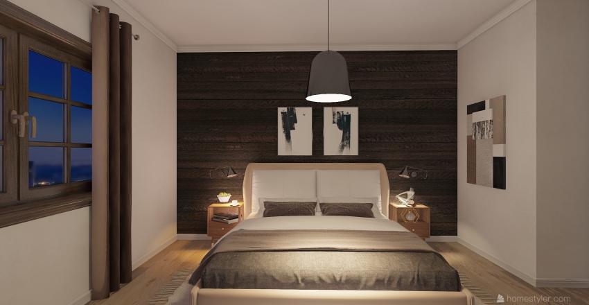 rustic bedroom  Interior Design Render