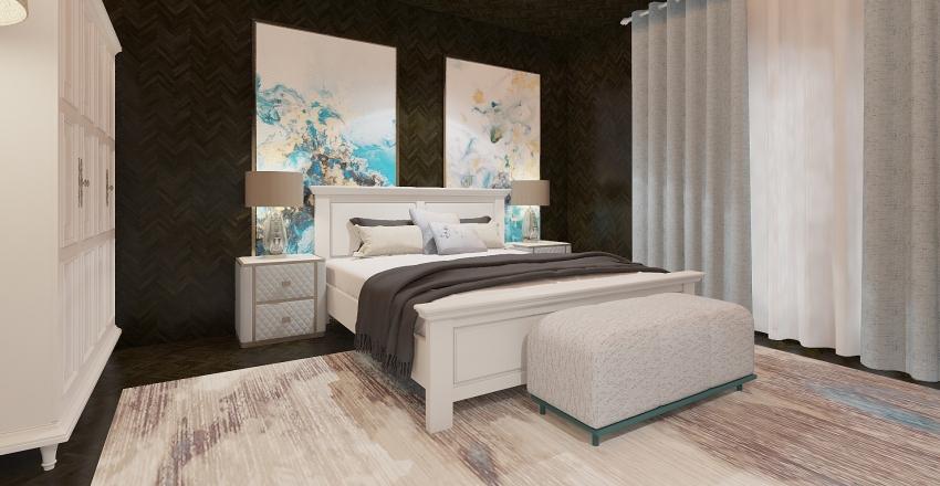 blue bedroom Interior Design Render