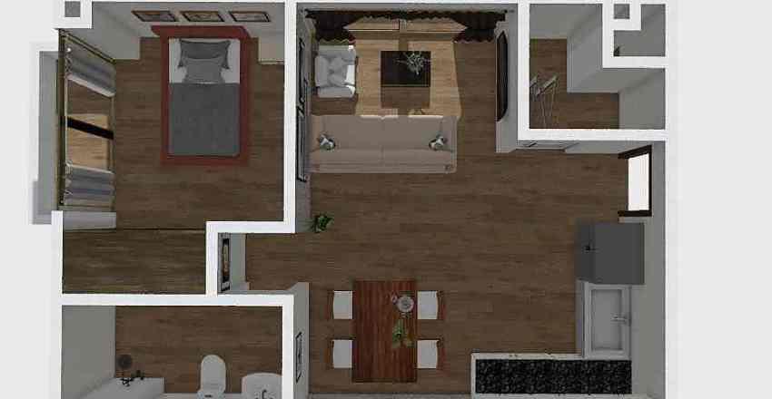 1 habitación Interior Design Render