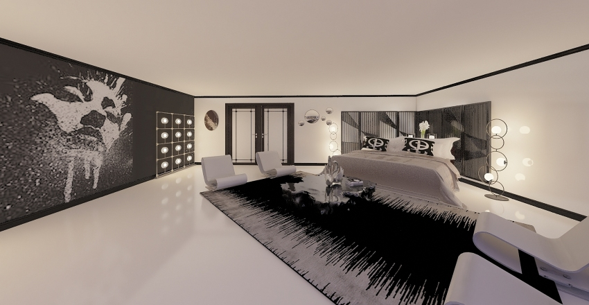 black and white contemporary bedroom Interior Design Render