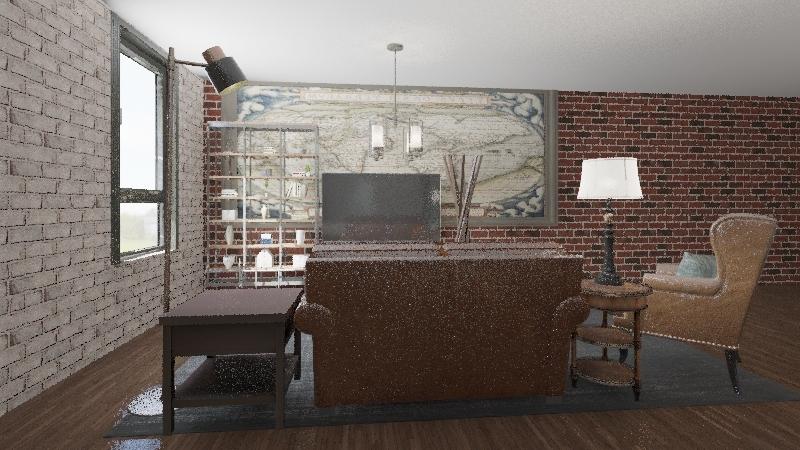 Apartment Couple Industrial Interior Design Render