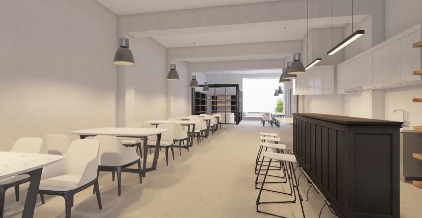 Garage Cafe Interior Design Render