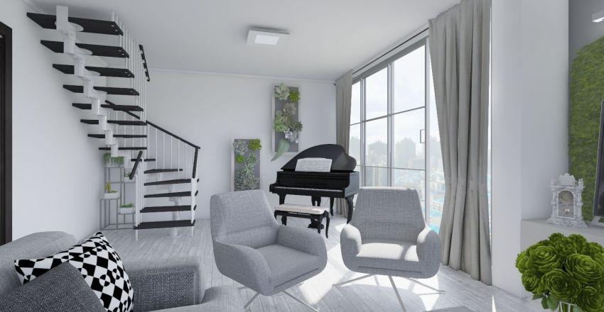 Sala de Estar e Copa Interior Design Render