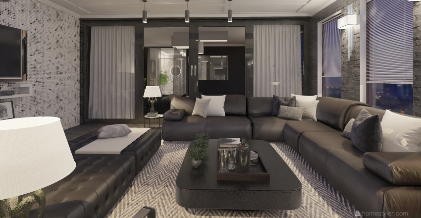 Long Downtown Apartment Interior Design Render