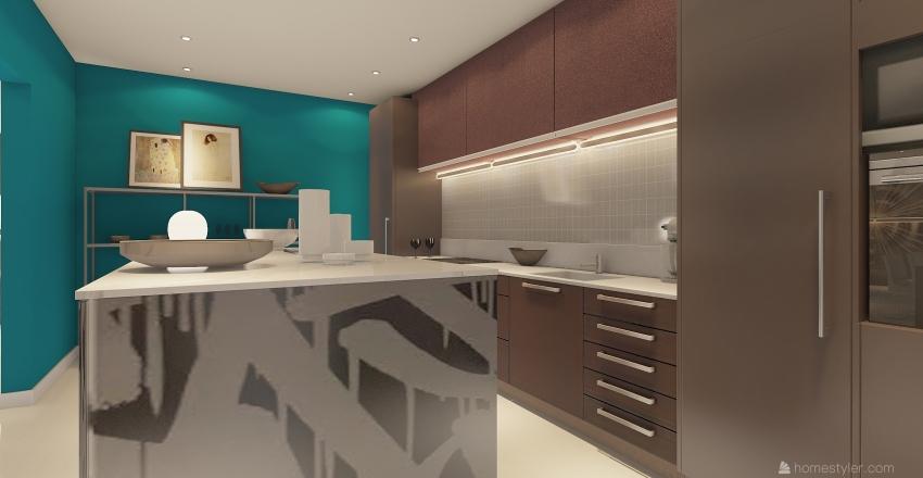 Ambiente unico con cucina a vista Interior Design Render
