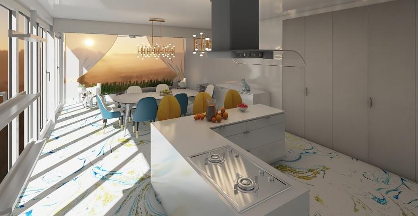color marble  kitchen Interior Design Render