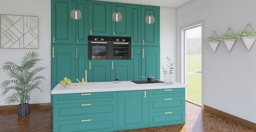 green kitchen Interior Design Render