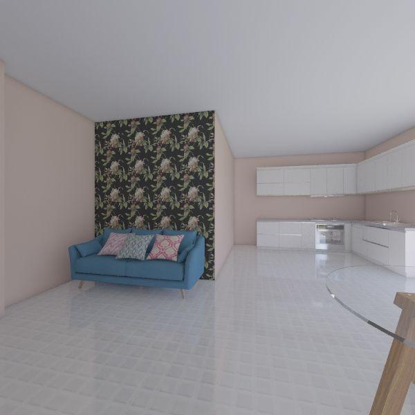 Living room+Kitchen Interior Design Render